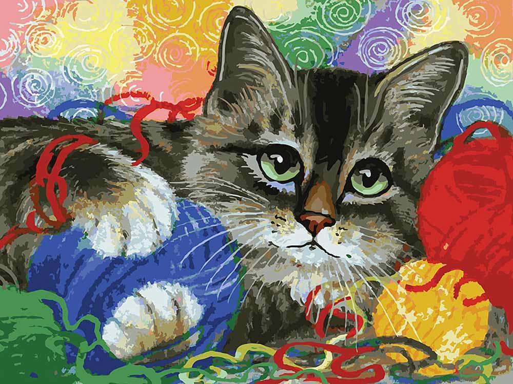 Картина по номерам «Котик с клубочками»Картины по номерам Белоснежка<br><br><br>Артикул: 3005-CS<br>Основа: Картон<br>Сложность: очень сложные<br>Размер: 30x40 см<br>Количество цветов: 36<br>Техника рисования: Без смешивания красок