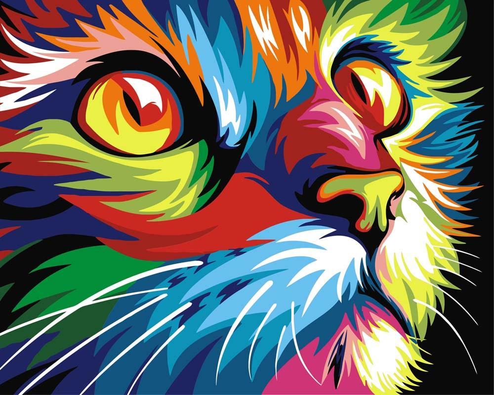 """Картина по номерам «Радужный кот» Ваю РомдониРаскраски по номерам<br>Картины по номерам """"Артвентура"""" - это высокое качество составляющих от холста до оригинальной упаковки.<br> Отличие наборов этого бренда от других производителей заключается в том, что:<br> - каждая схема разработана с ювелирной точностью;<br> - белый высококач...<br>"""