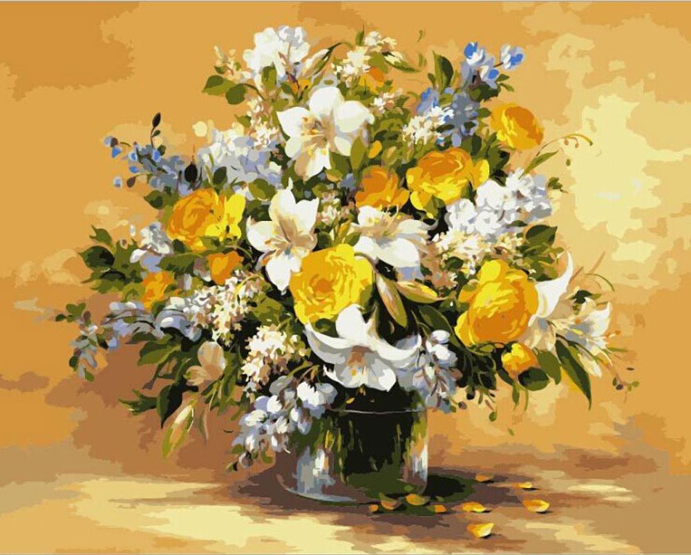 Картина по номерам «Романтичный букет» ФасаниЦветной (Standart)<br><br><br>Артикул: GX8243_Z<br>Основа: Холст<br>Сложность: сложные<br>Размер: 40x50 см<br>Количество цветов: 31<br>Техника рисования: Без смешивания красок