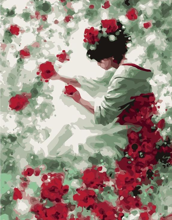 Картина по номерам «Девушка с розами»Menglei (Premium)<br><br><br>Артикул: MG144<br>Основа: Холст<br>Сложность: сложные<br>Размер: 40x50 см<br>Количество цветов: 24<br>Техника рисования: Без смешивания красок