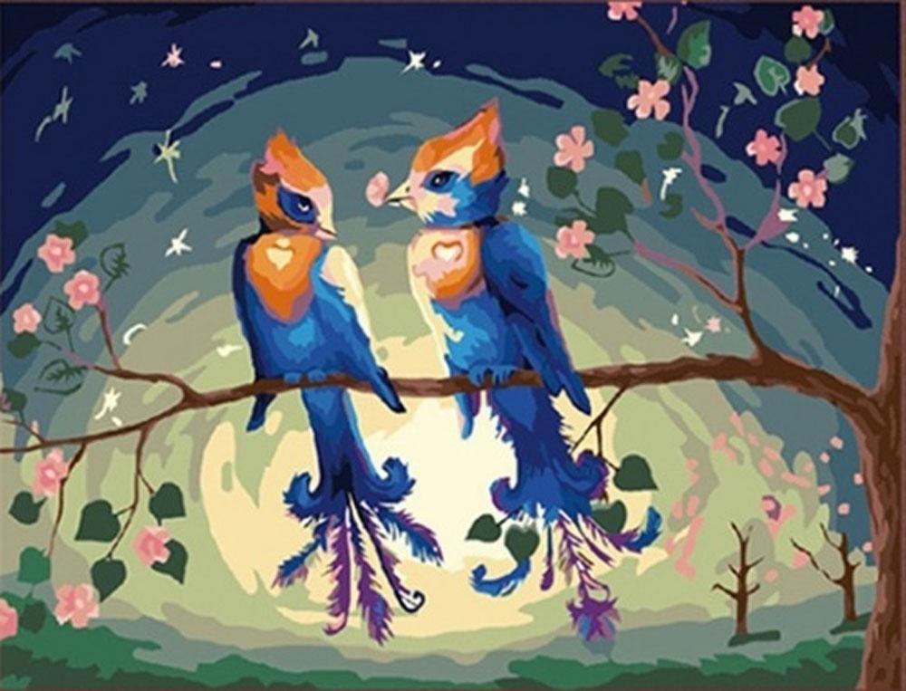 «Райские птицы»Раскраски по номерам Menglei (Standart)<br><br><br>Артикул: MG156_S<br>Основа: Холст<br>Сложность: средние<br>Размер: 40x50 см<br>Количество цветов: 25<br>Техника рисования: Без смешивания красок