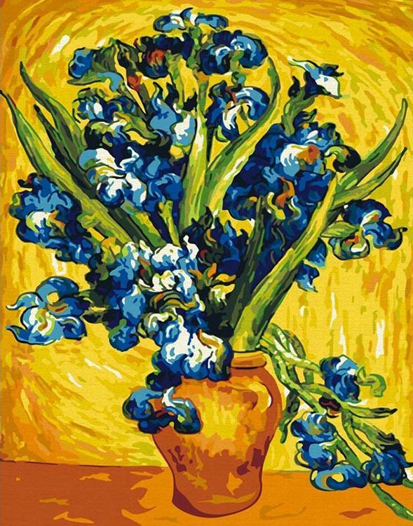 Картина по номерам «Ирисы в вазе» Ван ГогаКартины по номерам Белоснежка<br><br><br>Артикул: 006-CG<br>Основа: Холст<br>Сложность: средние<br>Размер: 40x50 см<br>Количество цветов: 21<br>Техника рисования: Без смешивания красок