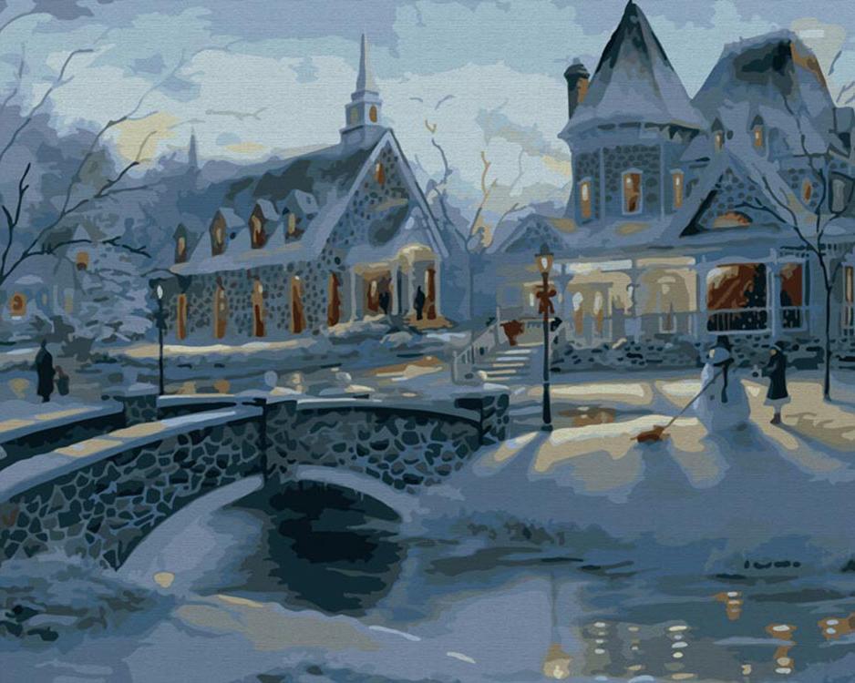 Картина по номерам «Зимние усадьбы» Роберта ФайнэлаКартины по номерам Белоснежка<br><br><br>Артикул: 011-CG<br>Основа: Холст<br>Сложность: сложные<br>Размер: 40x50 см<br>Количество цветов: 22<br>Техника рисования: Без смешивания красок