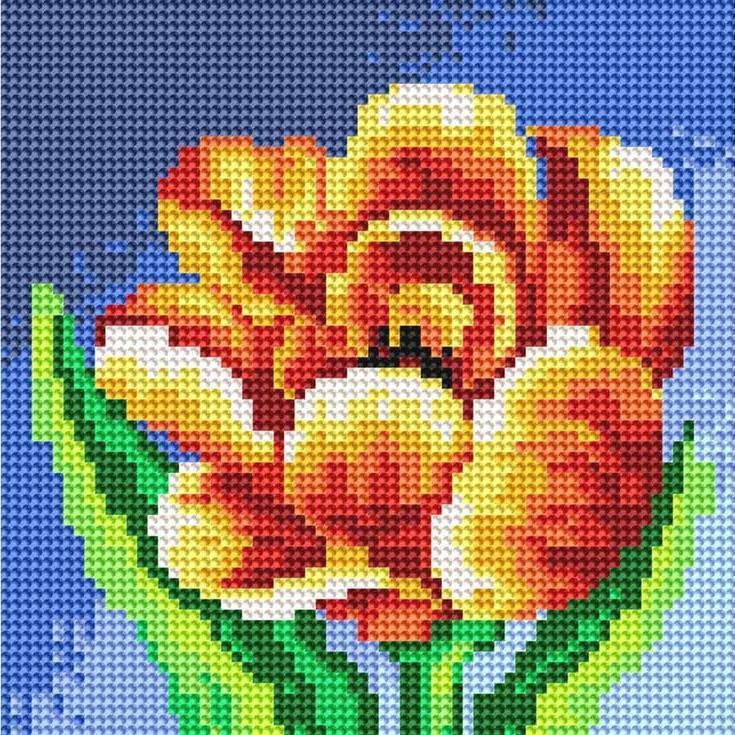 Стразы «Махровый тюльпан»Алмазная вышивка фирмы Белоснежка<br><br><br>Артикул: 016-RS-R<br>Основа: Холст на подрамнике<br>Размер: 20x20 см<br>Выкладка: Полная<br>Количество цветов: 466<br>Тип страз: Круглые прозрачные (стеклянные)
