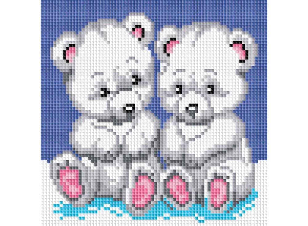 Стразы «Медвежата»Алмазная вышивка фирмы Белоснежка<br><br><br>Артикул: 019-ST-S<br>Основа: Холст на подрамнике<br>Размер: 20x20<br>Выкладка: Полная<br>Количество цветов: 9<br>Тип страз: Квадратные
