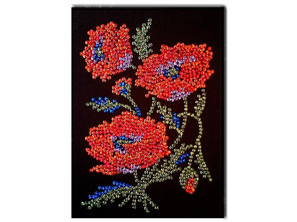 Мозаика из пайеток «Маки»Мозаика из пайеток<br>Набор мозаики из пайеток содержит все, что нужно для творческого процесса:<br> - основу-планшет из пенопласта;<br><br>- фон с точечной разметкой расположения пайеток по цветам;<br><br>- разноцветные пайетки;<br><br>- специальные гвоздики-булавочки;<br><br>- рамку из пенопл...<br><br>Артикул: 037<br>Основа: Планшет из пенопласта<br>Размер: 27x36 см<br>Возраст: от 8 лет
