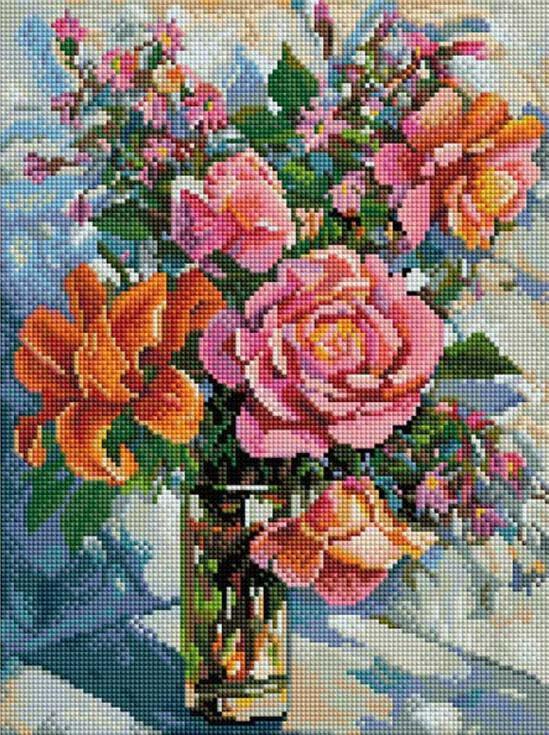 Стразы «Натюрморт с розами» Елены КалашниковойАлмазная вышивка фирмы Белоснежка<br><br><br>Артикул: 050-ST-S<br>Основа: Холст на подрамнике<br>Размер: 30x40 см<br>Выкладка: Полная<br>Количество цветов: 50<br>Тип страз: Квадратные