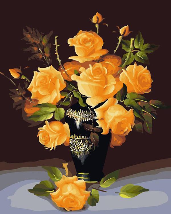 Картина по номерам «Букет желтых роз»Картины по номерам Белоснежка<br><br><br>Артикул: 078-CG<br>Основа: Холст<br>Сложность: средние<br>Размер: 40x50 см<br>Количество цветов: 24<br>Техника рисования: Без смешивания красок