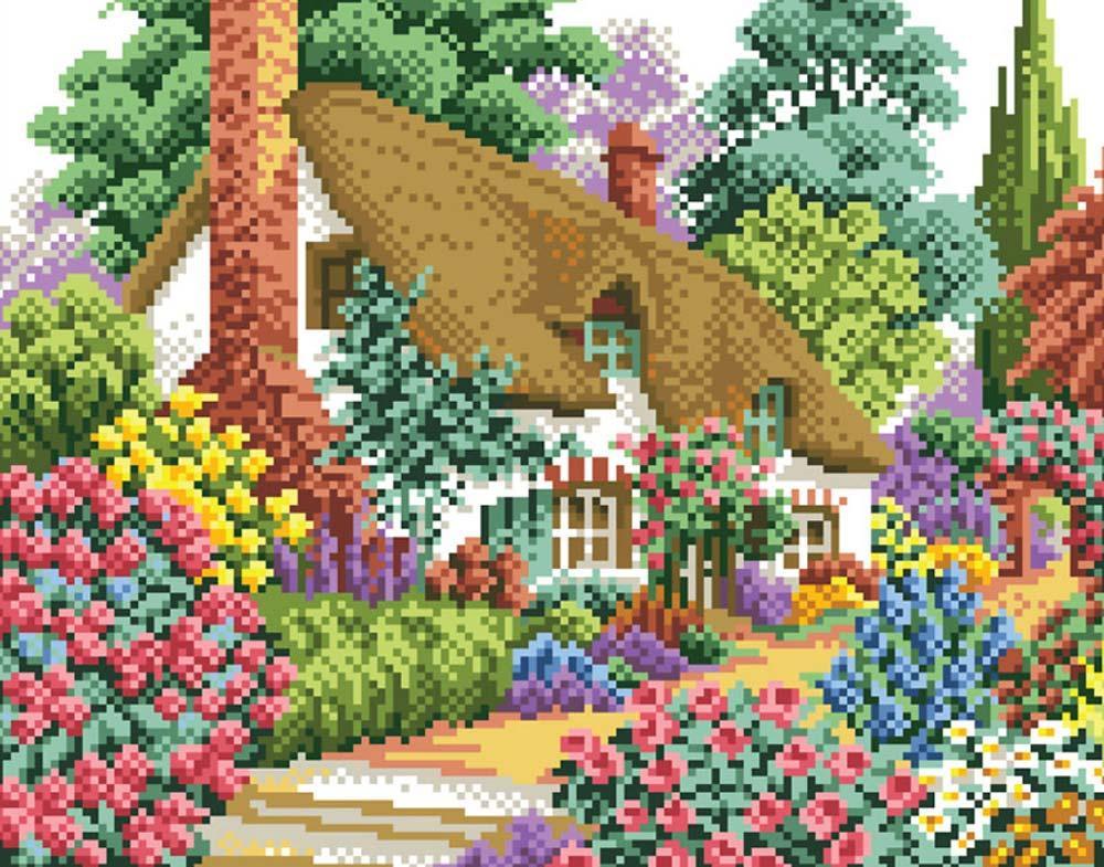 Стразы «Дом в саду»Алмазная вышивка фирмы Белоснежка<br><br><br>Артикул: 080-ST-S<br>Основа: Холст на подрамнике<br>Размер: 30x40 см<br>Выкладка: Полная<br>Количество цветов: 32<br>Тип страз: Квадратные