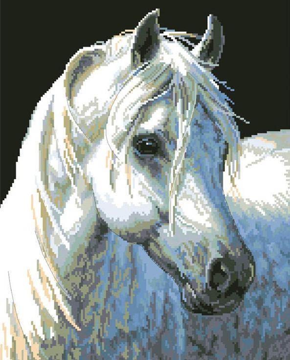 Стразы «Белый конь»Алмазная вышивка фирмы Белоснежка<br><br><br>Артикул: 090-ST-S<br>Основа: Холст на подрамнике<br>Размер: 40x50 см<br>Выкладка: Полная<br>Количество цветов: 20<br>Тип страз: Квадратные