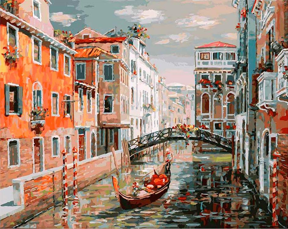 «Венеция. Канал Сан Джованни Латерано»Картины по номерам Белоснежка<br><br><br>Артикул: 125-AB<br>Основа: Холст<br>Сложность: очень сложные<br>Размер: 40x50 см<br>Количество цветов: 39<br>Техника рисования: Без смешивания красок