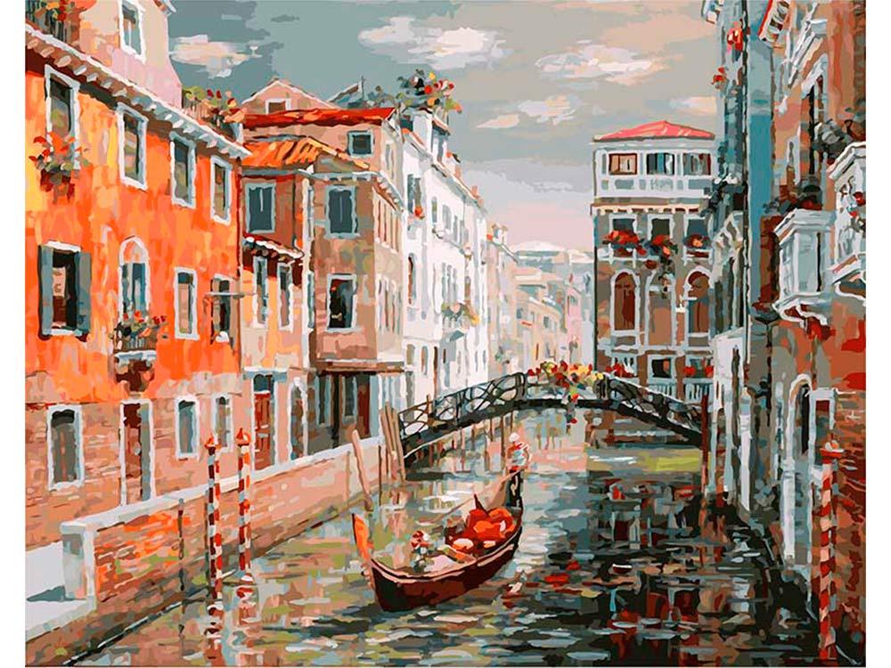 «Венеция. Канал Сан Джованни Латерано»Картины по номерам Белоснежка<br><br><br>Артикул: 125-AB<br>Основа: Холст<br>Сложность: очень сложные<br>Размер: 40x50<br>Количество цветов: 39<br>Техника рисования: Без смешивания красок