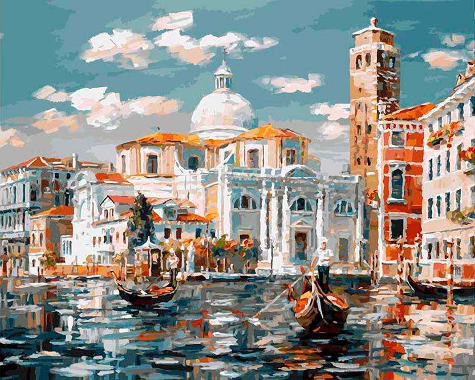 «Венеция. Церковь Сан Джеремия»Картины по номерам Белоснежка<br><br><br>Артикул: 126-AB<br>Основа: Холст<br>Сложность: очень сложные<br>Размер: 40x50 см<br>Количество цветов: 38<br>Техника рисования: Без смешивания красок