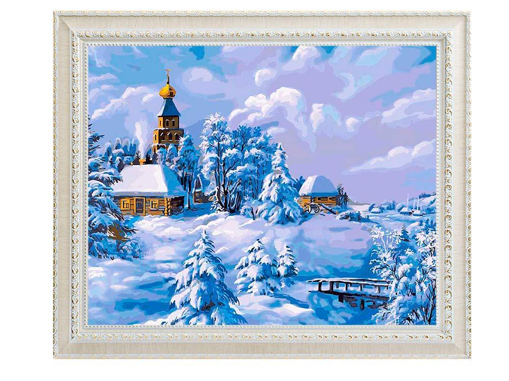 картины по номерам зима в деревне