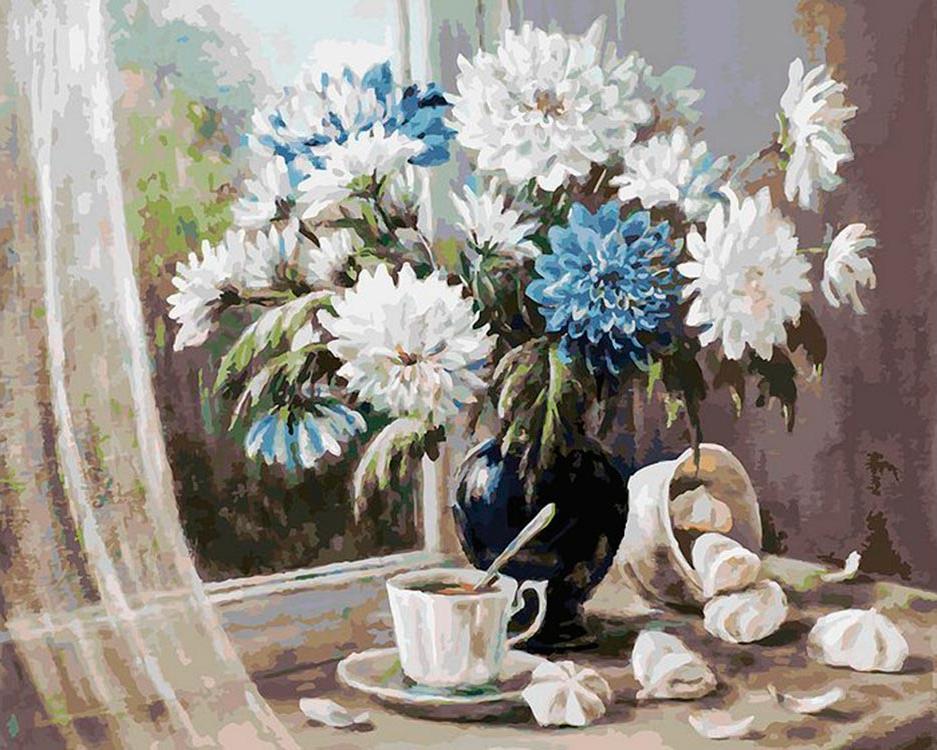 Картина по номерам «Хризантемы — цветы запоздалые» Ольги ВоробьевойКартины по номерам Белоснежка<br><br><br>Артикул: 147-AB<br>Основа: Холст<br>Сложность: очень сложные<br>Размер: 40x50 см<br>Количество цветов: 39<br>Техника рисования: Без смешивания красок