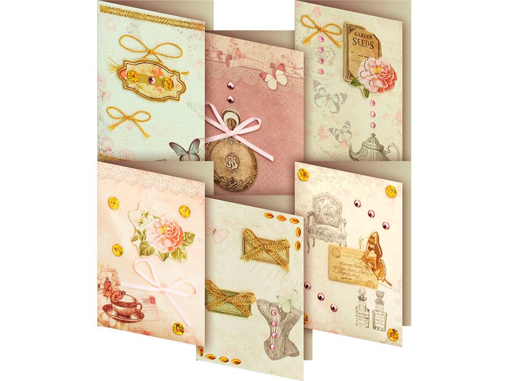 Набор из 6-ти открыток «Бутоньерка»Наборы для создания открыток<br>Набор для создания 6-ти мини открыток Бутоньерка.<br>Размер открыток 65*90 мм.<br><br>-6 мини-заготовок для открыток,<br> -6 конвертов,<br> -клеевые подушечки,<br> -декоративныеэлементы: вырубка из бумаги, ленты, пайетки, стразы, полубусины.<br><br>Артикул: 200-SB<br>Размер: 6,5x9 см