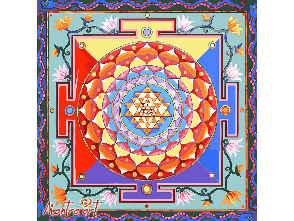 Купить Картина по номерам «Шри Янтра» + в наборе подарок, Mantra Art, Россия