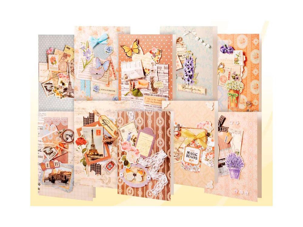 Набор из 10-ти открыток «Винтаж»Наборы для создания открыток<br>В набор для создания 10-ти открыток Винтаж входят:<br> -10 заготовок для открыток;<br>  -10 конвертов;<br>  -бумага для скрапбукинга;<br>  -клеевые подушечки;<br>  -декоративные элементы: вырубка из бумаги, ленты, пайетки, стразы, полубусины.<br><br>Артикул: 251-SB<br>Размер: 11,5x17