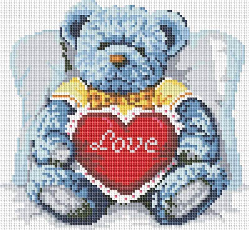Стразы «Медвежонок с сердцем»Алмазная вышивка фирмы Белоснежка<br><br><br>Артикул: 251-ST-S<br>Основа: Холст на подрамнике<br>Размер: 30x30 см<br>Выкладка: Полная<br>Количество цветов: 17<br>Тип страз: Квадратные