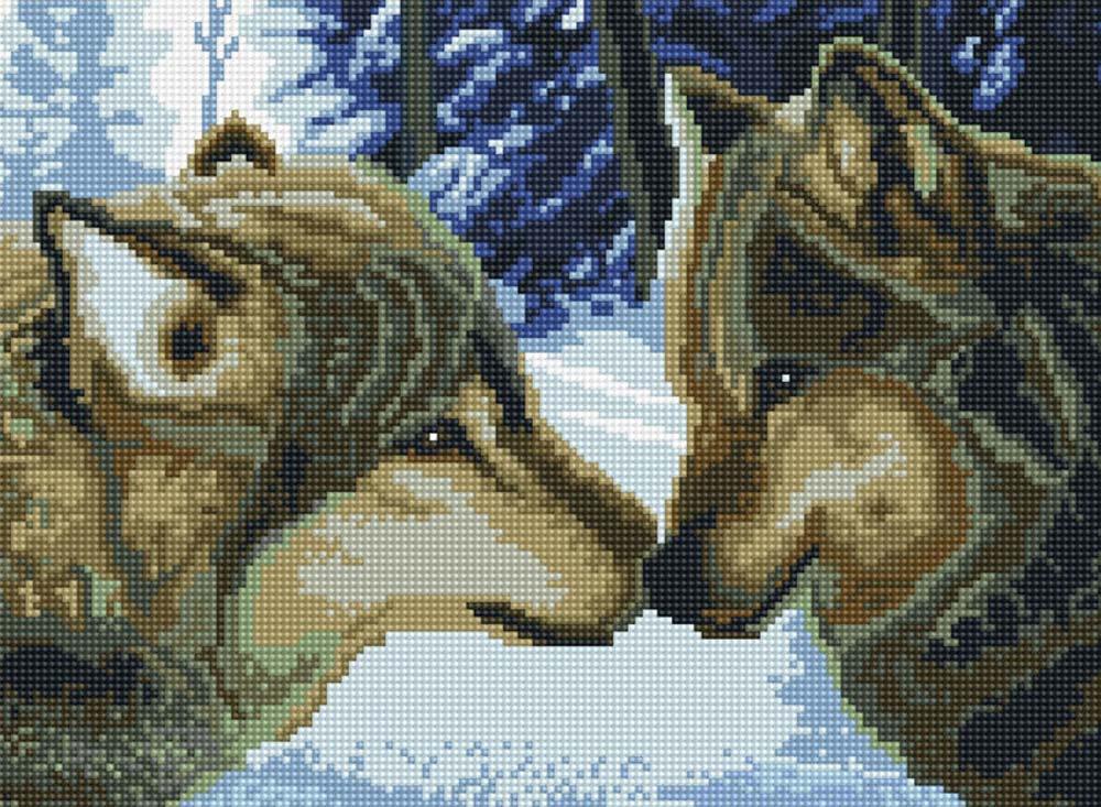 Стразы «Волки в зимнем лесу» Игоря СтащенкоАлмазная вышивка фирмы Белоснежка<br><br><br>Артикул: 260-ST-S<br>Основа: Холст на подрамнике<br>Размер: 30x40 см<br>Выкладка: Полная<br>Количество цветов: 20<br>Тип страз: Квадратные