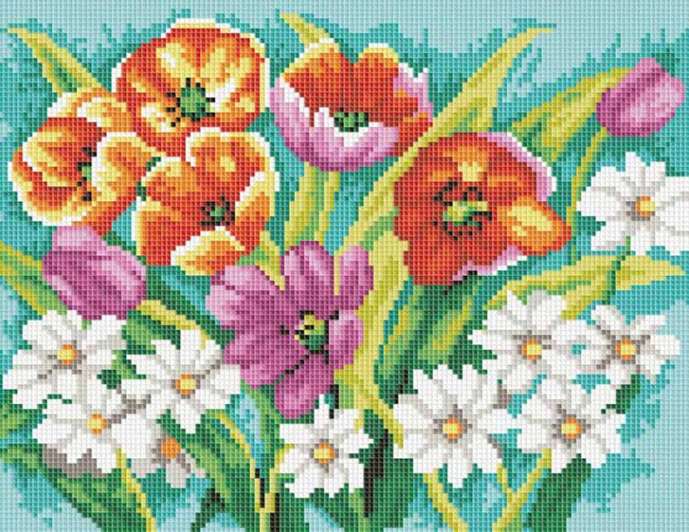 Алмазная вышивка «Прекрасные цветы»Алмазная вышивка фирмы Белоснежка<br><br><br>Артикул: 271-ST-S<br>Основа: Холст на подрамнике<br>Размер: 30x40 см<br>Выкладка: Полная<br>Тип страз: Квадратные