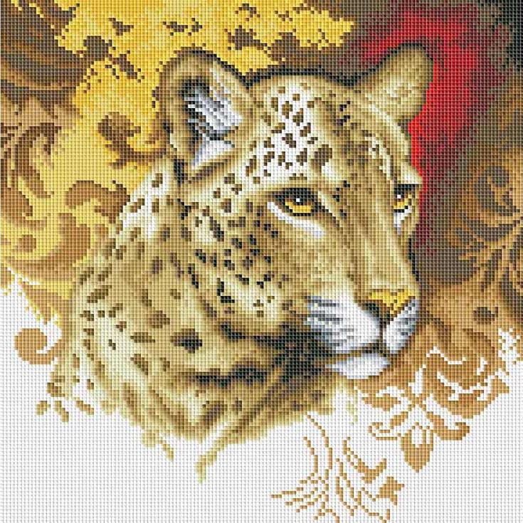 Алмазная вышивка «Портрет леопарда»Алмазная вышивка фирмы Белоснежка<br><br><br>Артикул: 273-ST-S<br>Основа: Холст на подрамнике<br>Размер: 30x30 см<br>Выкладка: Полная<br>Количество цветов: 23<br>Тип страз: Квадратные