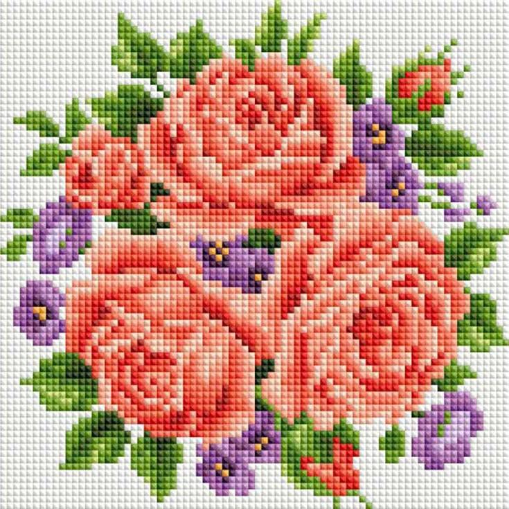 Алмазная вышивка «Розы и фиалки»Алмазная вышивка фирмы Белоснежка<br><br><br>Артикул: 277-ST-S<br>Основа: Холст на подрамнике<br>Размер: 20x20 см<br>Выкладка: Полная<br>Количество цветов: 21<br>Тип страз: Квадратные