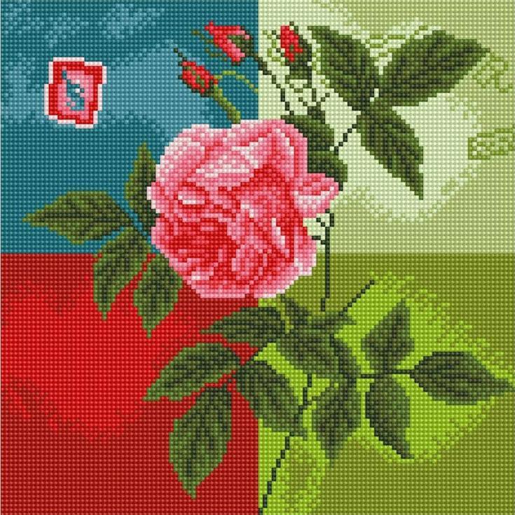 Стразы «Нежна роза»Алмазна вышивка фирмы Белоснежка<br><br><br>Артикул: 288-ST-S<br>Основа: Холст на подрамнике<br>Размер: 30x30 см<br>Выкладка: Полна<br>Количество цветов: 16<br>Тип страз: Квадратные