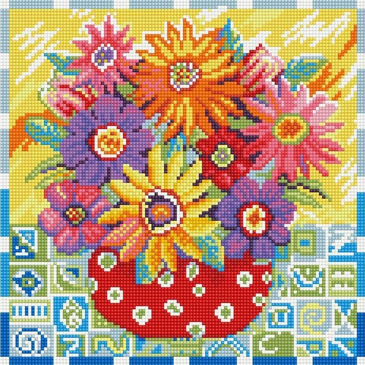 Стразы «Цветики-цветочки»Алмазная вышивка фирмы Белоснежка<br><br><br>Артикул: 291-ST-S<br>Основа: Холст на подрамнике<br>Размер: 30x30 см<br>Выкладка: Полная<br>Количество цветов: 20<br>Тип страз: Квадратные