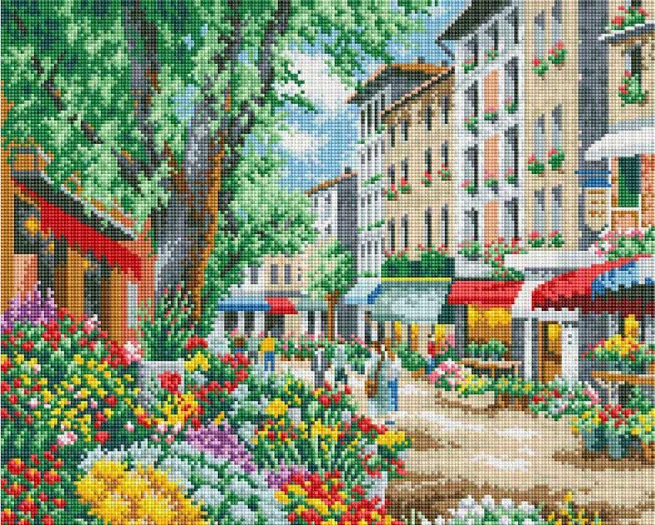 Стразы «Парижский цветочный рынок» Сунг Сэм ПаркаАлмазная вышивка фирмы Белоснежка<br><br><br>Артикул: 301-ST-S<br>Основа: Холст на подрамнике<br>Размер: 40x50 см<br>Выкладка: Полная<br>Количество цветов: 32<br>Тип страз: Квадратные