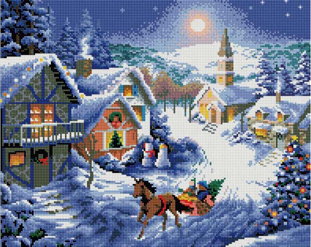 Стразы «Рождественская ночь» Ники БоэмАлмазная вышивка фирмы Белоснежка<br><br><br>Артикул: 303-ST-S<br>Основа: Холст на подрамнике<br>Размер: 40x50 см<br>Выкладка: Полная<br>Количество цветов: 29<br>Тип страз: Квадратные