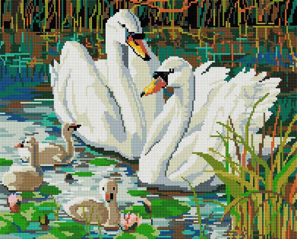 Стразы «Семья лебедей»Алмазная вышивка фирмы Белоснежка<br><br><br>Артикул: 309-ST-S<br>Основа: Холст на подрамнике<br>Размер: 40x50<br>Выкладка: Полная<br>Количество цветов: 30<br>Тип страз: Квадратные