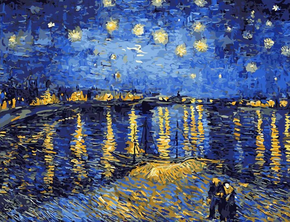 Картина по номерам «Звезды над водой» Ван ГогаКартины по номерам Белоснежка<br><br><br>Артикул: 323-CG<br>Основа: Холст<br>Сложность: средние<br>Размер: 40x50 см<br>Количество цветов: 25<br>Техника рисования: Без смешивания красок