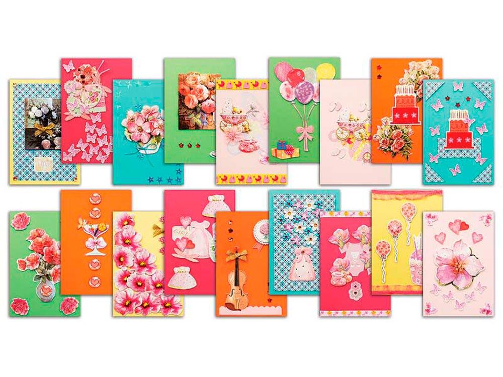 Набор из 18-х открыток «Очарование»Наборы для создания открыток<br>В набор из 18-ти открыток входят готовые поздравления и красочные картинки с русскими фразами и стихами, карточки для скрапбукинга.<br><br>Комплектация набора Очарование:<br><br>цветные заготовки для открыток115*170 мм<br>конверты<br>поздравления<br>клеевые поду...<br><br>Артикул: 335-SB<br>Размер: 11,5x17 см