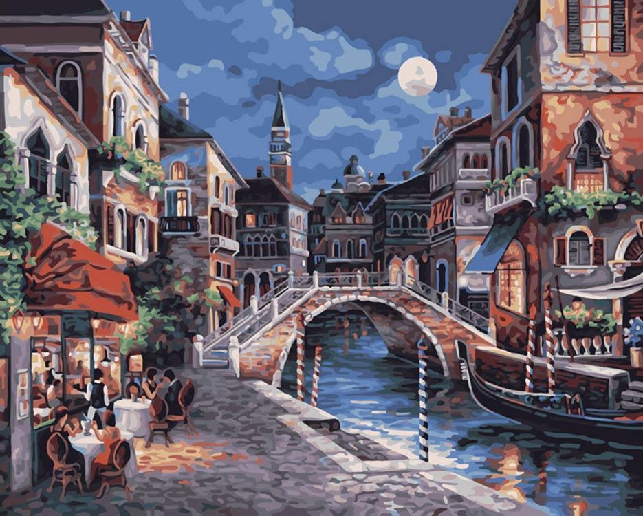 Картина по номерам «Ночная Венеция» Джеймса ЛиКартины по номерам Белоснежка<br><br><br>Артикул: 350-CG<br>Основа: Холст<br>Сложность: средние<br>Размер: 40x50 см<br>Количество цветов: 25<br>Техника рисования: Без смешивания красок