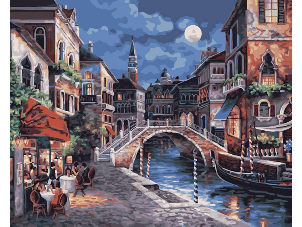 «Ночная Венеция» Джеймса ЛиКартины по номерам Белоснежка<br><br><br>Артикул: 350-CG<br>Основа: Холст<br>Сложность: средние<br>Размер: 40x50<br>Количество цветов: 25<br>Техника рисования: Без смешивания красок