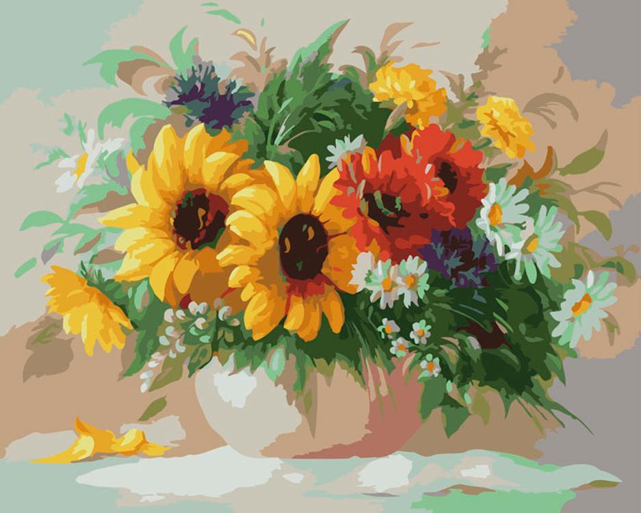 Картина по номерам «Дачный букет» Антонио ДжанильяттиКартины по номерам Белоснежка<br><br><br>Артикул: 504-CG<br>Основа: Холст<br>Сложность: очень сложные<br>Размер: 40x50 см<br>Количество цветов: 25<br>Техника рисования: Без смешивания красок