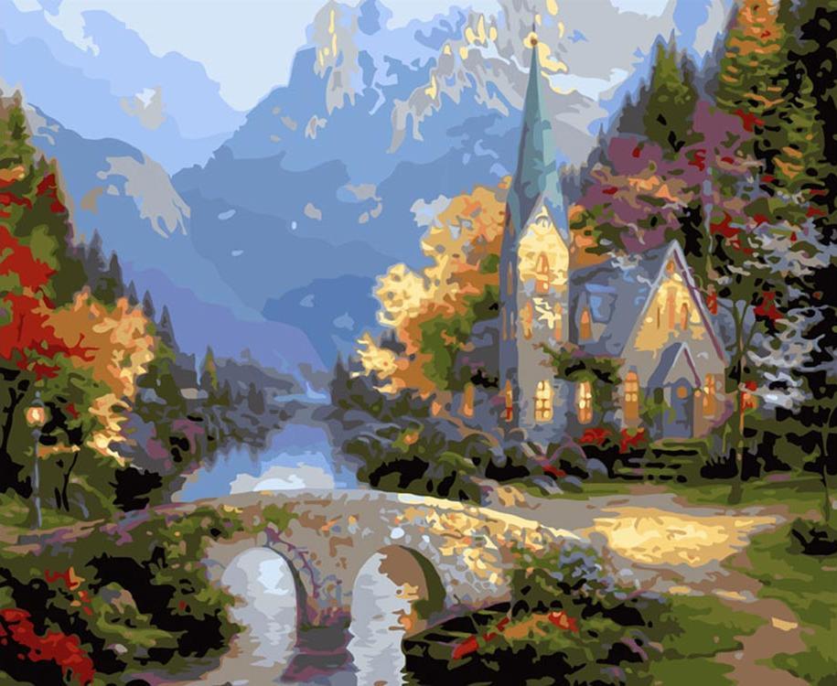 Картина по номерам «Средневековая церковь» Томаса КинкейдаКартины по номерам Белоснежка<br><br><br>Артикул: 540-CG<br>Основа: Холст<br>Сложность: сложные<br>Размер: 40x50 см<br>Количество цветов: 31<br>Техника рисования: Без смешивания красок