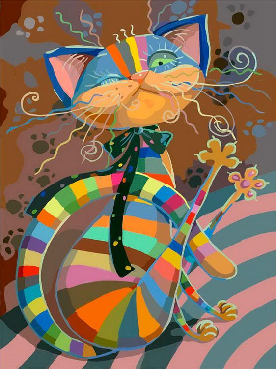 Картина по номерам «Полосатый разбойник»Картины по номерам Белоснежка<br><br><br>Артикул: 812-AB<br>Основа: Холст<br>Сложность: очень сложные<br>Размер: 40x50 см<br>Количество цветов: 20<br>Техника рисования: Без смешивания красок