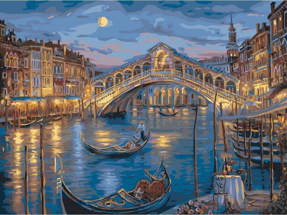 «Прошлой ночью на Гранд-Канале» Роберта ФайнэлаКартины по номерам Белоснежка<br><br><br>Артикул: 846-AB<br>Основа: Холст<br>Сложность: средние<br>Размер: 40x50 см<br>Количество цветов: 26<br>Техника рисования: Без смешивания красок