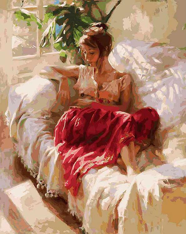 «Полуденный отдых» Винсенте Ромеро РедондоКартины по номерам Белоснежка<br><br><br>Артикул: 934-AB<br>Основа: Холст<br>Сложность: очень сложные<br>Размер: 40x50 см<br>Количество цветов: 40<br>Техника рисования: Без смешивания красок