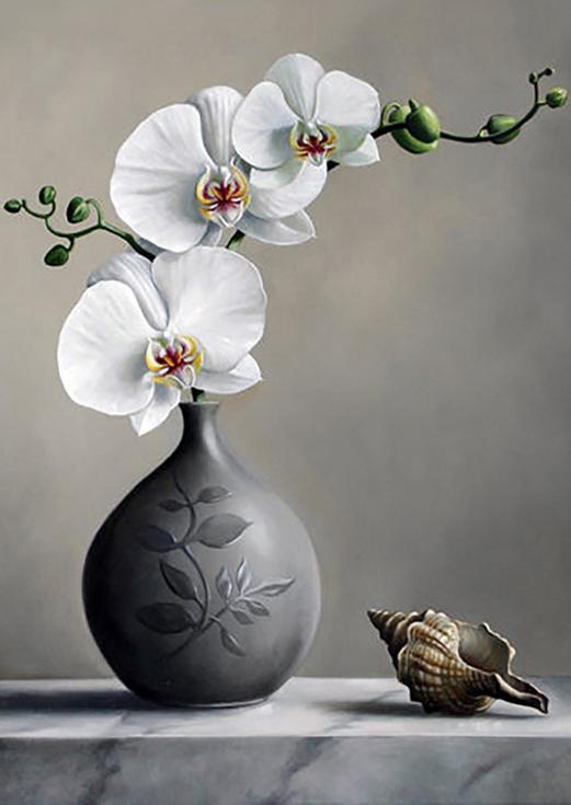 Стразы «Белая орхидея»Алмазная вышивка Гранни<br><br><br>Артикул: AG4643<br>Основа: Холст без подрамника<br>Сложность: средние<br>Размер: 27x38 см<br>Выкладка: Полная<br>Количество цветов: 13<br>Тип страз: Квадратные