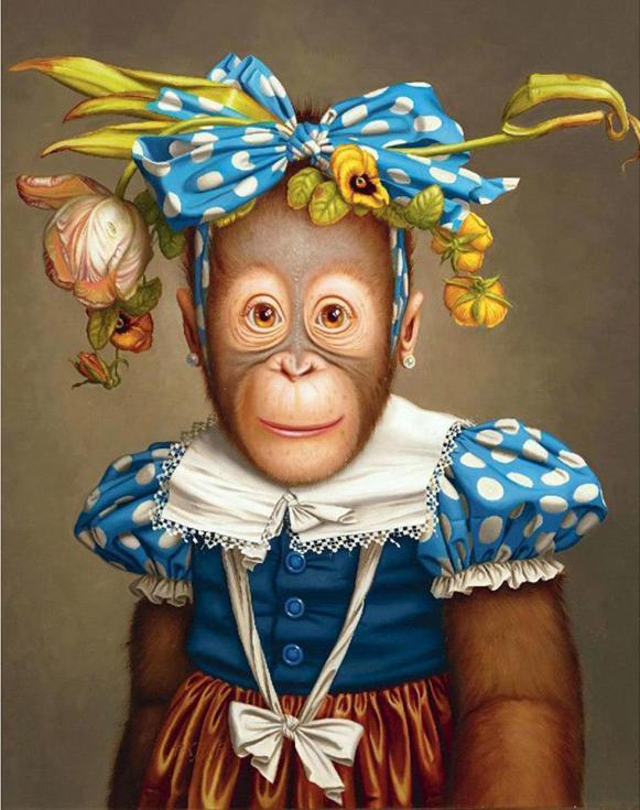Стразы «Веселая обезьяна» Дональда Роллера УилсонаАлмазная вышивка Гранни<br><br><br>Артикул: AG493<br>Основа: Холст без подрамника<br>Сложность: средние<br>Размер: 38x48 см<br>Выкладка: Полная<br>Количество цветов: 46<br>Тип страз: Квадратные