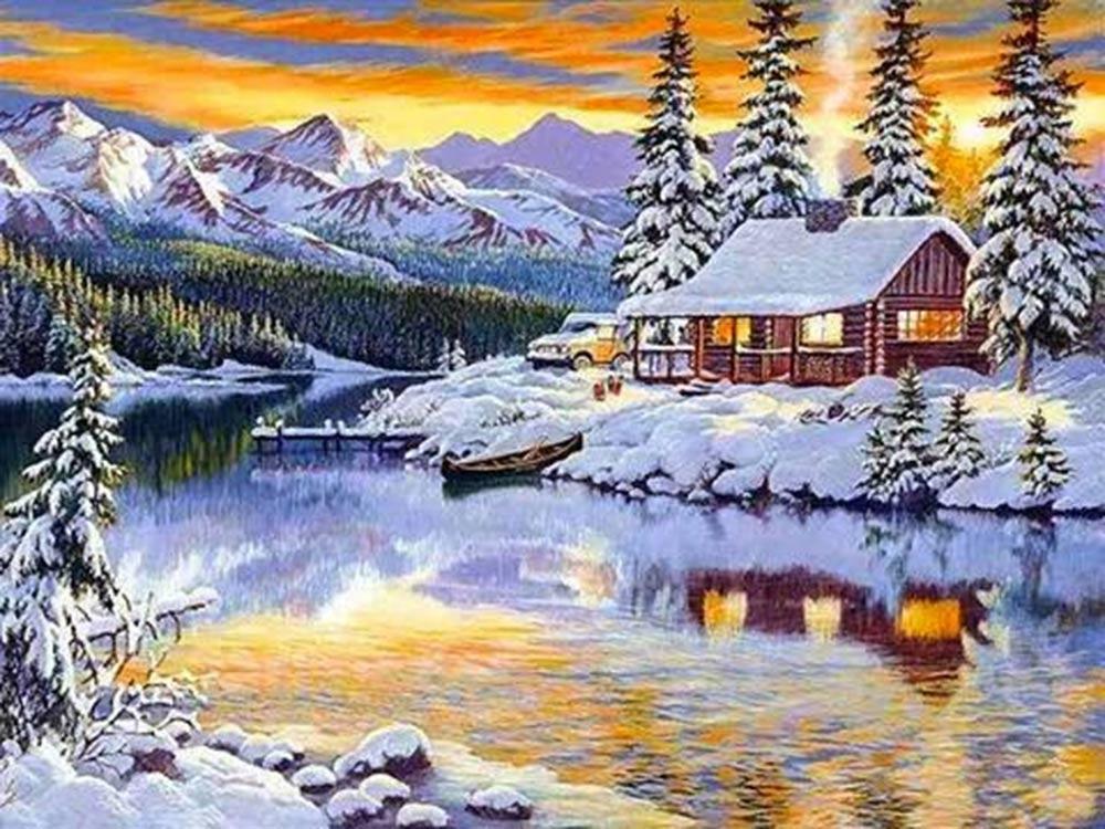 Алмазная вышивка «Зимний домик у реки»Алмазная Живопись<br>Картины стразами бренда «Алмазная Живопись» это:<br><br>четко пропечатанная символьная схема;<br>качественный клеевой слой по всей поверхности холста;<br>большая палитра акриловых страз с 9 гранями, которые, отражая свет, создают эффект объемного изображения.<br>...<br><br>Артикул: АЖ-1290<br>Основа: Холст без подрамника<br>Сложность: средние<br>Размер: 60x45 см<br>Выкладка: Полная<br>Количество цветов: 40<br>Тип страз: Квадратные