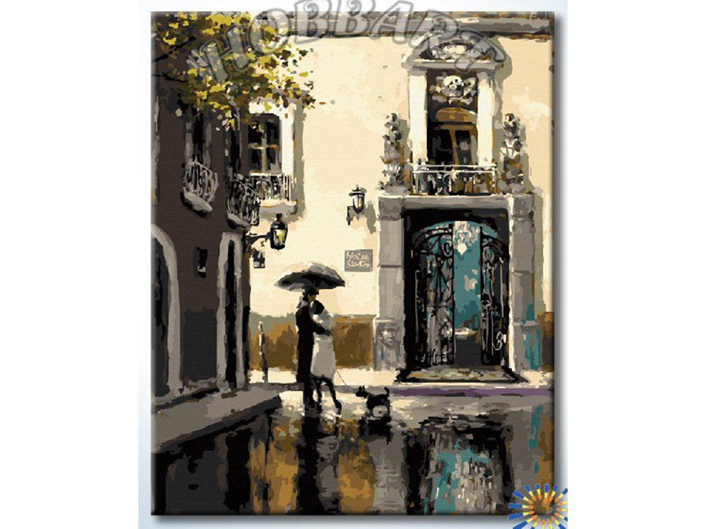 Картина по номерам «Встреча возле гостиницы» Брента ХейтонаHobbart<br><br><br>Артикул: DZ4050024<br>Основа: Холст<br>Сложность: сложные<br>Размер: 40x50 см<br>Количество цветов: 29<br>Техника рисования: Без смешивания красок