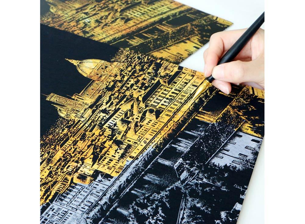 Скретч-картина «Флоренция»Раскраски в стиле граттаж (Скретч-картины)<br>Принцип скретч-картин прост, все, что нужно сделать – это «сцарапать» серебристое покрытие с винилового листа, на котором нанесен подробный рисунок мегаполиса. Последовательность процесса художник выбирает самостоятельно – сверху вниз, или наоборот.<br><br>Комп...<br><br>Артикул: FLORENCE<br>Сложность: средние<br>Размер: 41x29 см