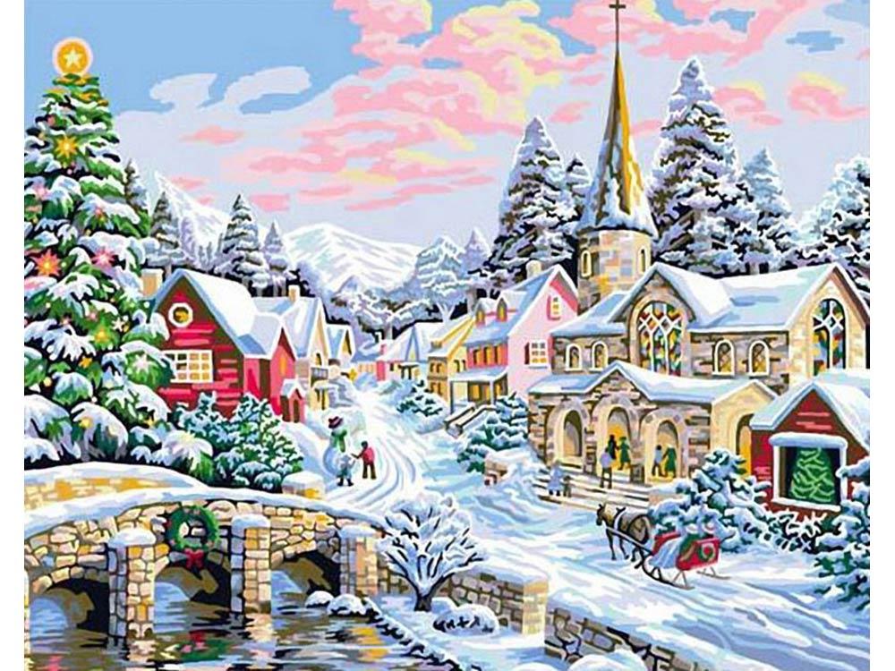 Картина по номерам «Зима-сказка» Ники БоэмРаскраски по номерам Color Kit<br><br><br>Артикул: G231<br>Основа: Холст<br>Сложность: сложные<br>Размер: 40x50 см<br>Количество цветов: 29<br>Техника рисования: Без смешивания красок