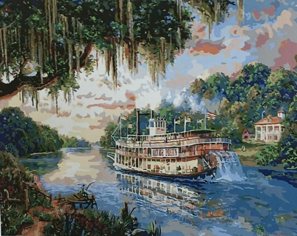 «Королева реки» Томаса КинкейдаPaintboy (Premium)<br><br><br>Артикул: Gx8079<br>Основа: Холст<br>Сложность: средние<br>Размер: 40x50 см<br>Количество цветов: 27<br>Техника рисования: Без смешивания красок