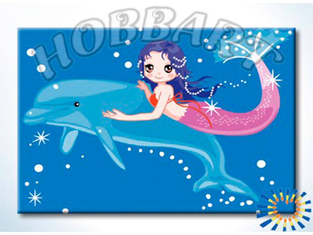 Картина по номерам «Дельфин и русалка»Hobbart<br><br><br>Артикул: HB2030040-Lite<br>Основа: Цветной холст<br>Сложность: легкие<br>Размер: 20x30 см<br>Количество цветов: 17<br>Техника рисования: Без смешивания красок