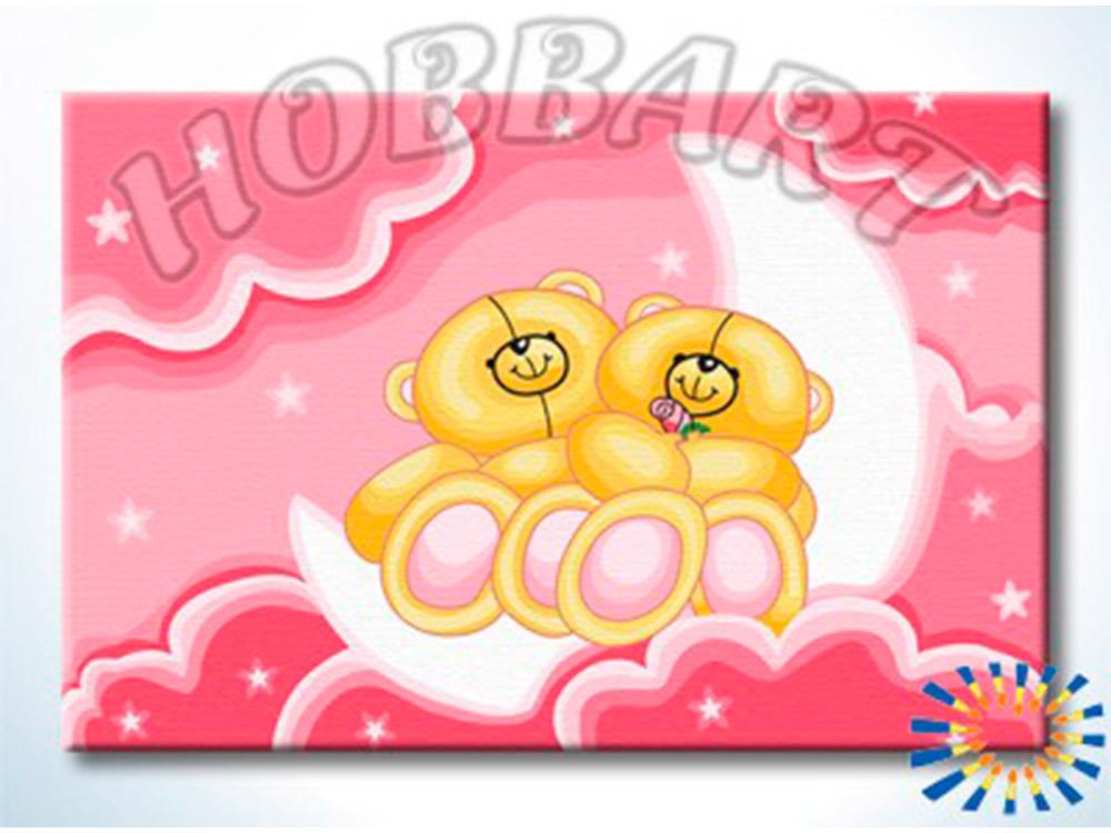 «Лунные мишки»Hobbart<br><br><br>Артикул: HB2030047<br>Основа: Холст<br>Сложность: легкие<br>Размер: 20x30 см<br>Количество цветов: 14<br>Техника рисования: Без смешивания красок